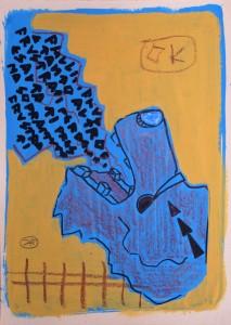 filippo biagioli analphabetic art, mixed media original on paper. tecnica mista lupo wolf