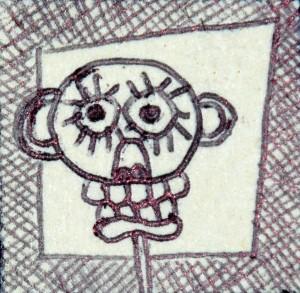 francobollo 2,5x2,5 2014 tecnica mista su carta pesante 1