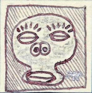 francobollo 2,5x2,5 2014 tecnica mista su carta pesante 2