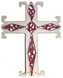 croce europea 26,5x24 2014 legno firma sotto la base Chiesa S Stefano Serravalle p se