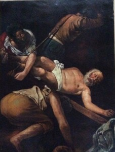 LA CROCIFISSIONE DI PIETRO olio su tela, datazione in corso ( fine XVIII / inizio XIX secolo) cm 48 X 64 Copia da Caravaggio. . L'opera originale è conservata nella Cappella Cerasi di Santa Maria del Popolo a Roma.