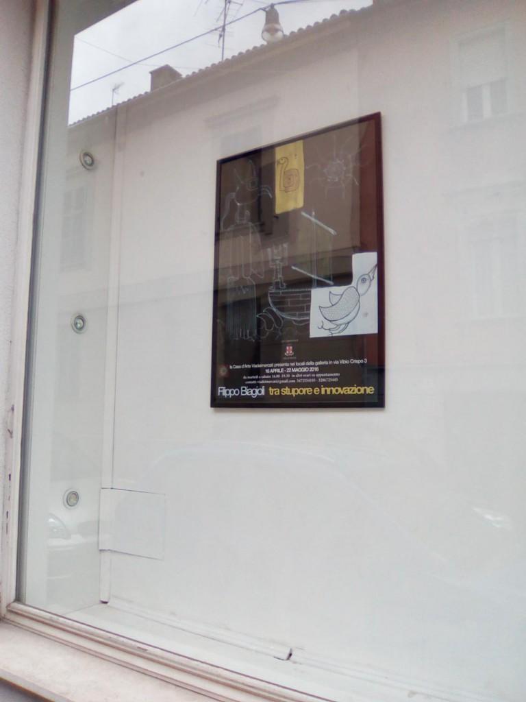 locandina poster filippo biagioli tra stupore e innovazione personale galleria viadeimercati vercelli arte tribale contemporanea