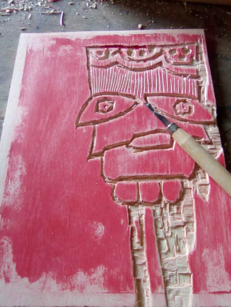 filippo biagioli xilografia per rivista scarafaggi woodcut european tribal ritual art