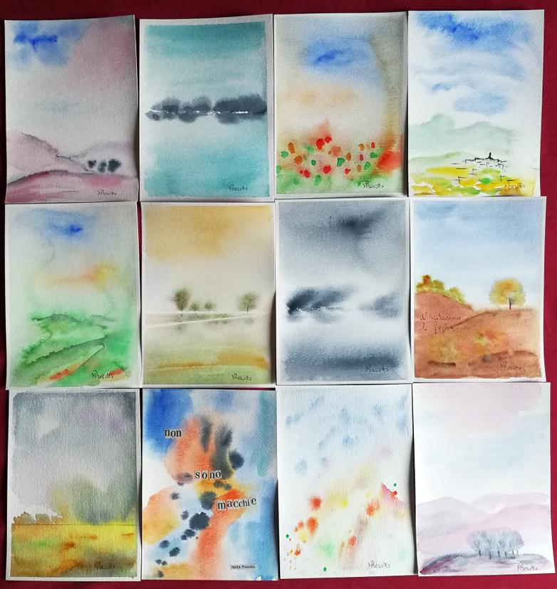 SCARAFAGGI n 3 acquerelli di Nadia Presotto