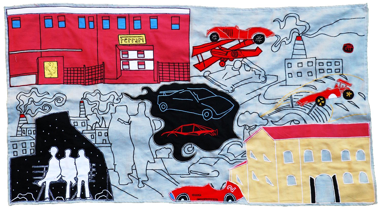 Stoffa analphabetica dedicata alla vita di Enzo Ferrari