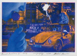 Printcard Wrocław uncanny valley  Michał Krawiec