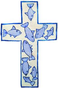 croce legno di abete riporta disegnati i simboli biblici dei pesci 45 x 29,5 x 4 cm anno 2014