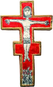 croce uncinata legno di abete riporta disegnato il corpo di cristo e i serpenti 36 x 22 x 4 cm anno 2015