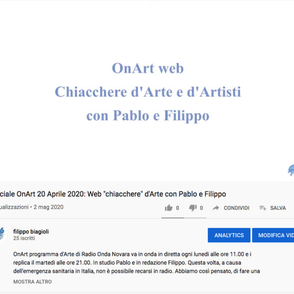 OnArt web 2 Maggio 2020 chiacchere d'Arte e d'Artisti