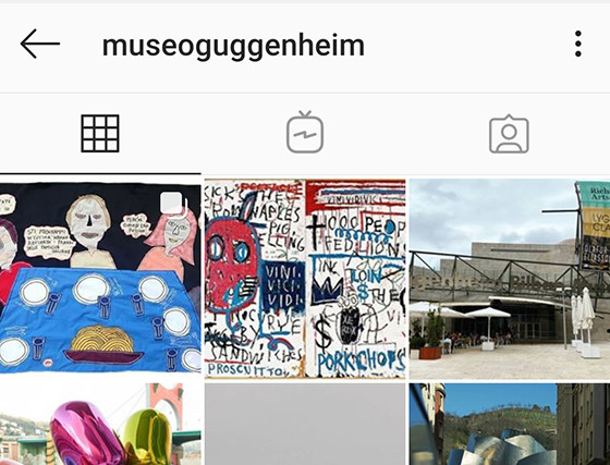 Una mia opera pubblicata sui profili social del Museo Guggenheim