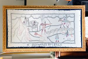 La Leggenda della Grigna ricamo interamente in seta di Filippo Biagioli
